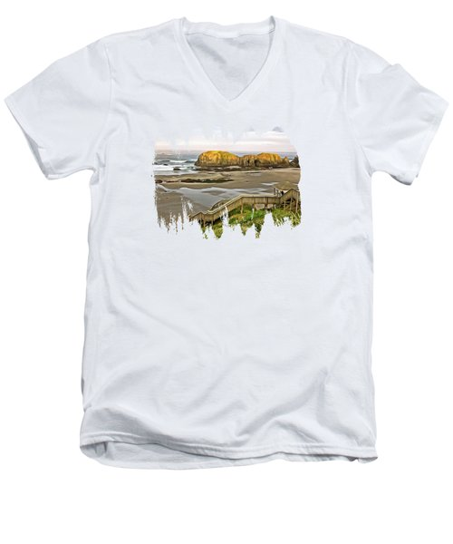 Bandon Beach Stairway Men's V-Neck T-Shirt