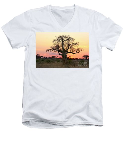 Baobab Tree At Sunset  Men's V-Neck T-Shirt