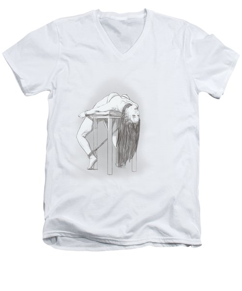 Men's V-Neck T-Shirt featuring the mixed media Bar Chair Bw by TortureLord Art