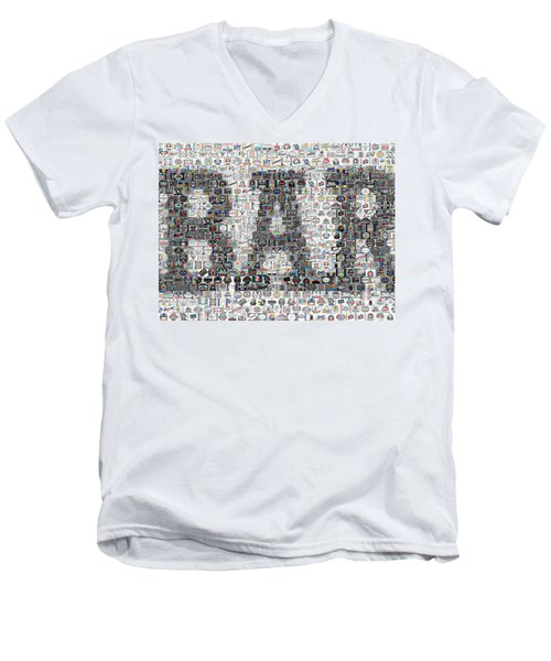 Men's V-Neck T-Shirt featuring the mixed media Bar Sign Beer Label Mosaic by Paul Van Scott
