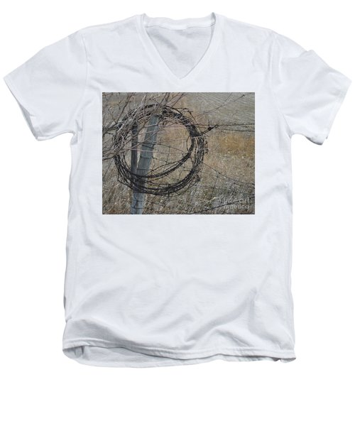 Barbed Wire Men's V-Neck T-Shirt by Renie Rutten