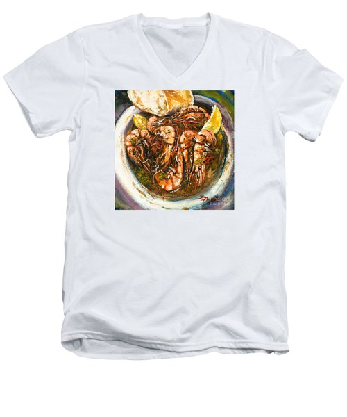 Men's V-Neck T-Shirt featuring the painting Barbequed Shrimp by Dianne Parks
