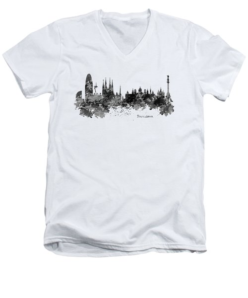 Barcelona Black And White Watercolor Skyline Men's V-Neck T-Shirt by Marian Voicu