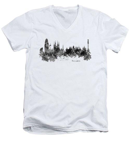 Barcelona Black And White Watercolor Skyline Men's V-Neck T-Shirt