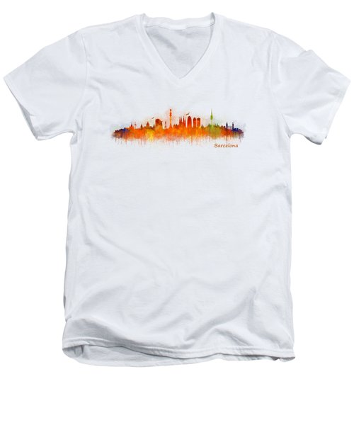 Barcelona City Skyline Hq _v3 Men's V-Neck T-Shirt by HQ Photo