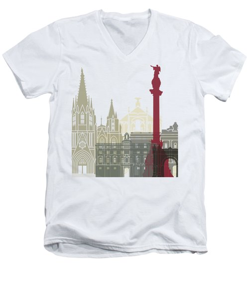 Barcelona Skyline Poster Men's V-Neck T-Shirt by Pablo Romero
