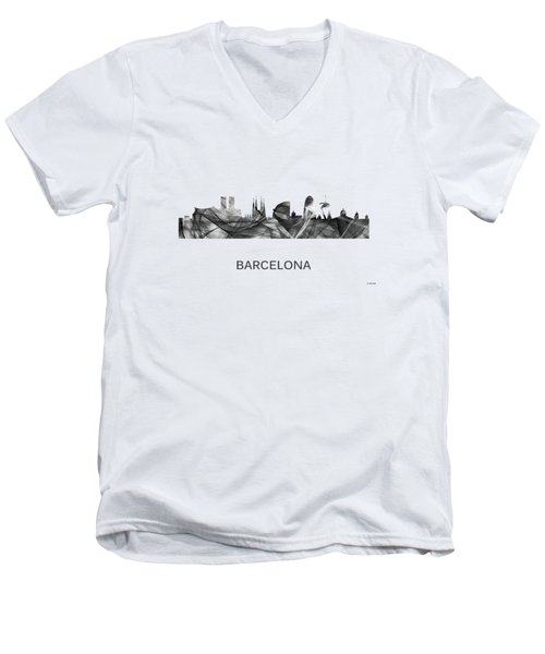 Barcelona Spain Skyline Men's V-Neck T-Shirt by Marlene Watson