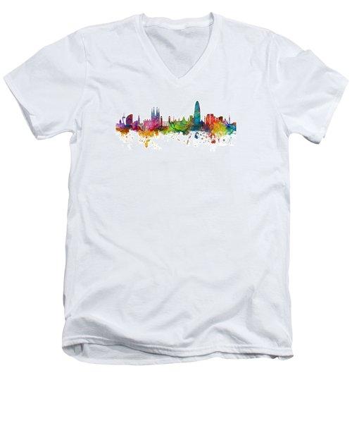 Barcelona Spain Skyline Panoramic Men's V-Neck T-Shirt by Michael Tompsett