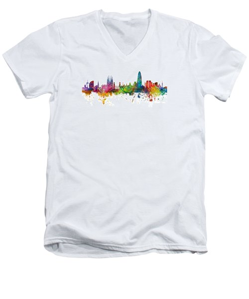 Barcelona Spain Skyline Panoramic Men's V-Neck T-Shirt