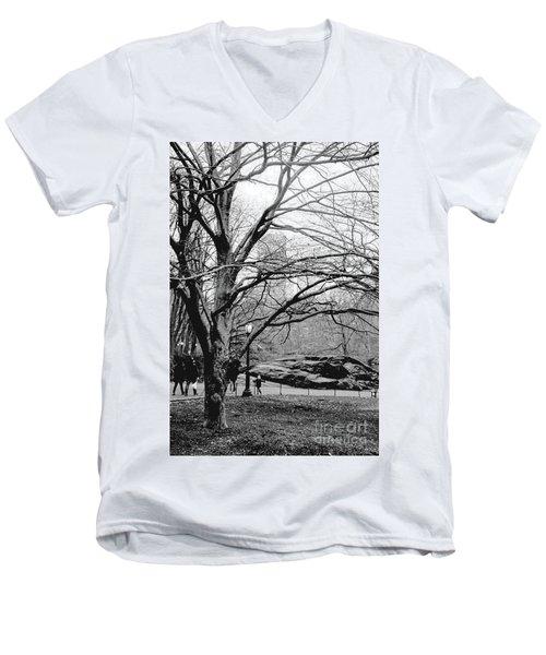 Bare Tree On Walking Path Bw Men's V-Neck T-Shirt by Sandy Moulder