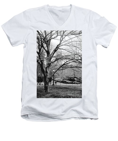 Bare Tree On Walking Path Bw Men's V-Neck T-Shirt