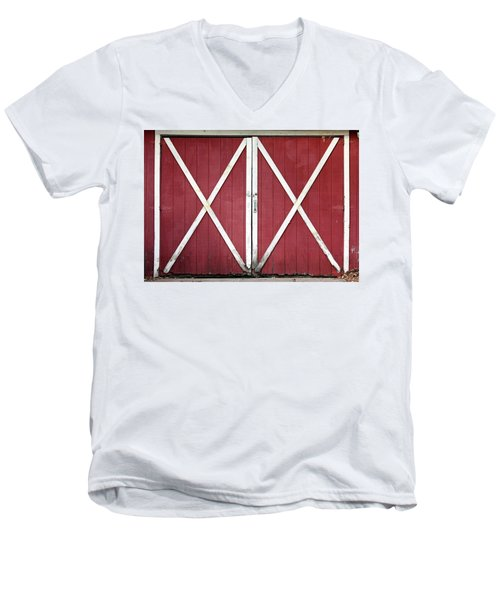Men's V-Neck T-Shirt featuring the photograph Red Barn Doors by Sheila Brown