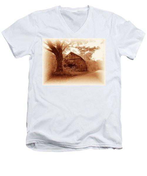 Barn Hocking Co Ohio Sepia Men's V-Neck T-Shirt