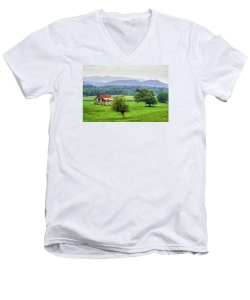 Barn In Smokies 2 Men's V-Neck T-Shirt