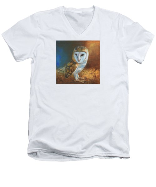 Men's V-Neck T-Shirt featuring the painting Barn Owl Blue by Terry Webb Harshman