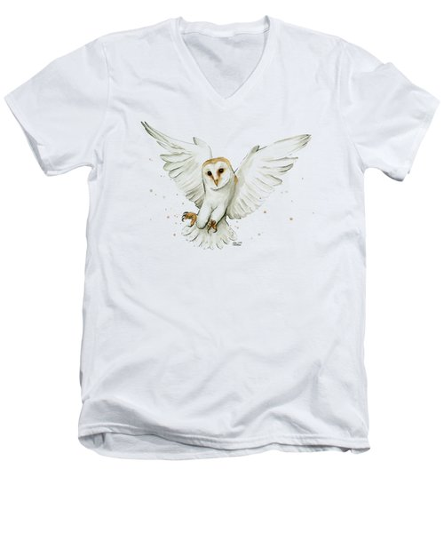 Barn Owl Flying Watercolor Men's V-Neck T-Shirt
