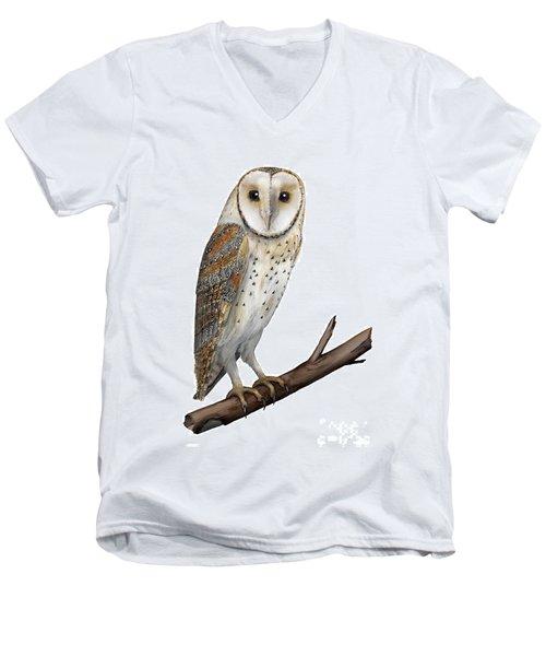 Barn Owl Screech Owl Tyto Alba - Effraie Des Clochers- Lechuza Comun- Tornuggla - Nationalpark Eifel Men's V-Neck T-Shirt
