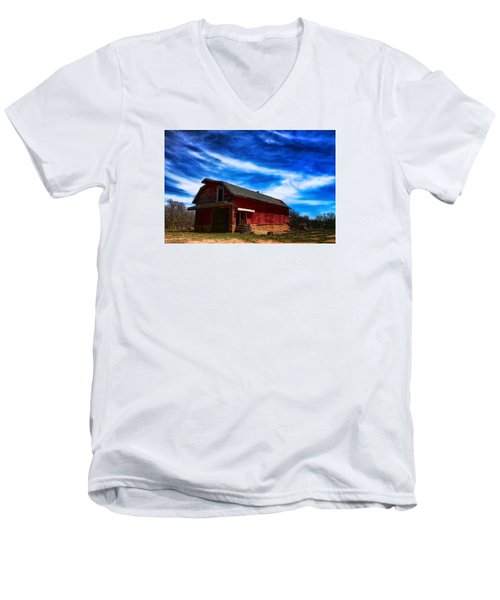 Barn Under Blue Sky Men's V-Neck T-Shirt by Toni Hopper