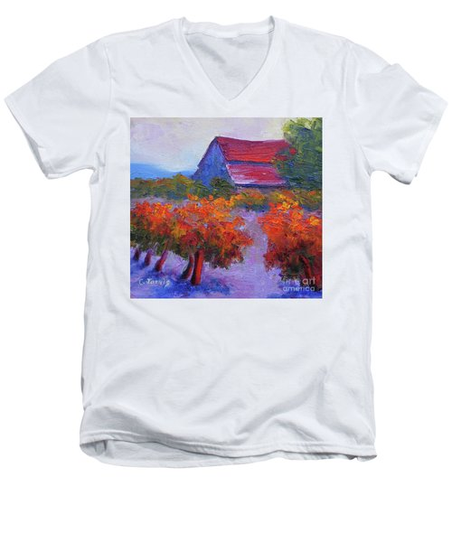 Barn Vineyard Autumn Men's V-Neck T-Shirt