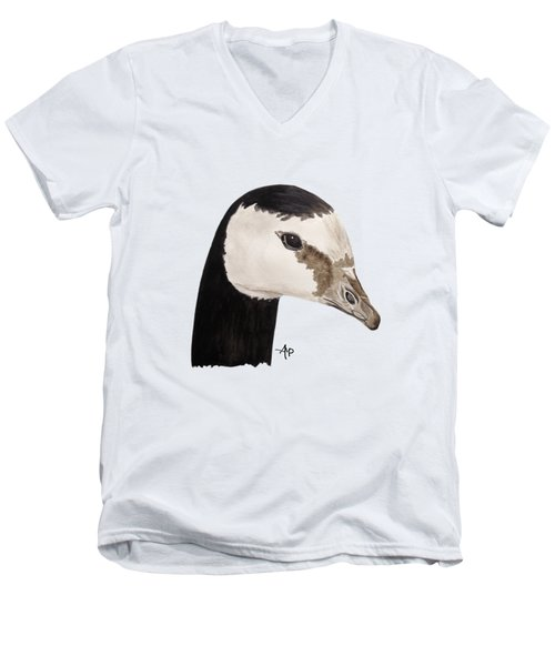 Barnacle Goose Portrait Men's V-Neck T-Shirt by Angeles M Pomata