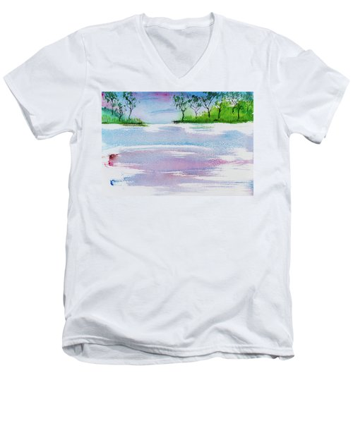 Gum Trees Frame The Sunset At Barnes Bay Men's V-Neck T-Shirt