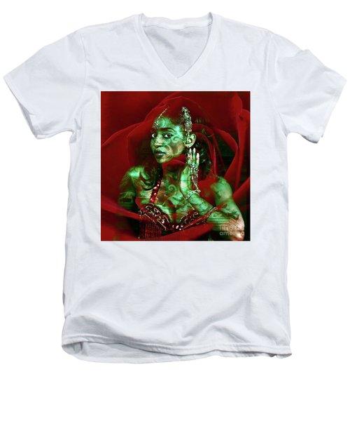 Baroque Meets Oriental Rose Men's V-Neck T-Shirt