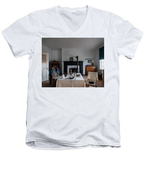 Men's V-Neck T-Shirt featuring the photograph Barracks Interior At Fort Laramie National Historic Site In Goshen County by Carol M Highsmith