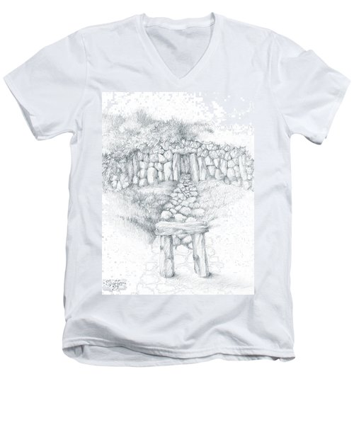 Men's V-Neck T-Shirt featuring the drawing Barrow Tomb by Curtiss Shaffer