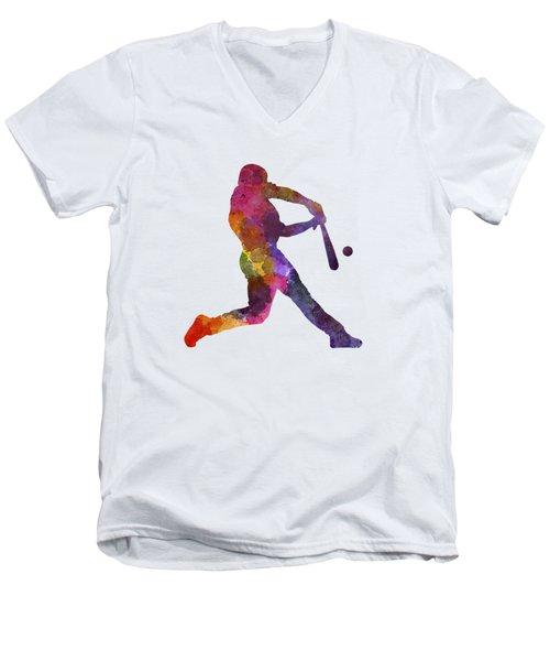 Baseball Player Hitting A Ball Men's V-Neck T-Shirt by Pablo Romero