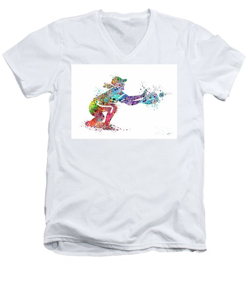 Baseball Softball Catcher 2 Sports Art Print Men's V-Neck T-Shirt by Svetla Tancheva