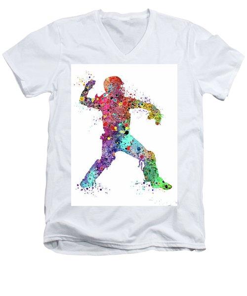 Baseball Softball Catcher 3 Watercolor Print Men's V-Neck T-Shirt