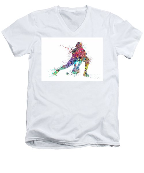 Baseball Softball Catcher Sports Art Print Men's V-Neck T-Shirt