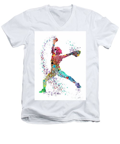 Baseball Softball Pitcher Watercolor Print Men's V-Neck T-Shirt by Svetla Tancheva