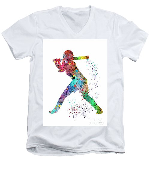 Baseball Softball Player Men's V-Neck T-Shirt by Svetla Tancheva