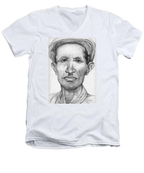 Men's V-Neck T-Shirt featuring the drawing Bashi by Annemeet Hasidi- van der Leij