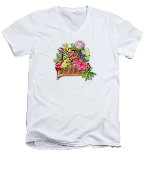 Basket Of Tropicals Men's V-Neck T-Shirt