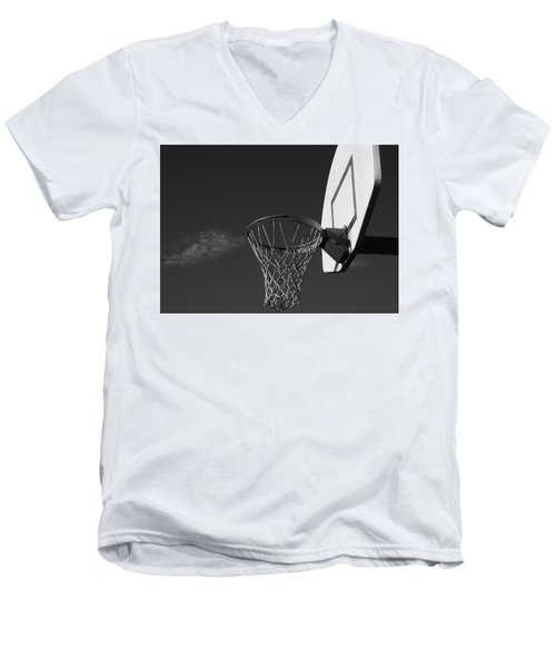 Men's V-Neck T-Shirt featuring the photograph Basketball Court by Richard Rizzo
