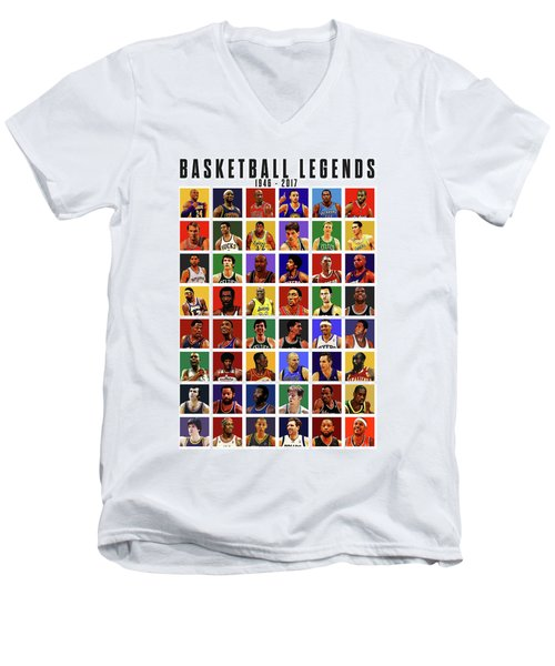 Basketball Legends Men's V-Neck T-Shirt by Semih Yurdabak