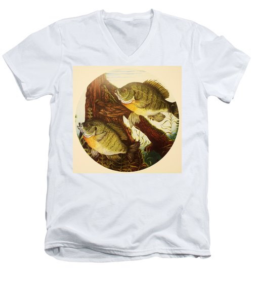 Men's V-Neck T-Shirt featuring the drawing Basking Bluegills by Bruce Bley