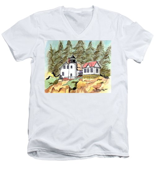 Bass Harbor Head Light Men's V-Neck T-Shirt