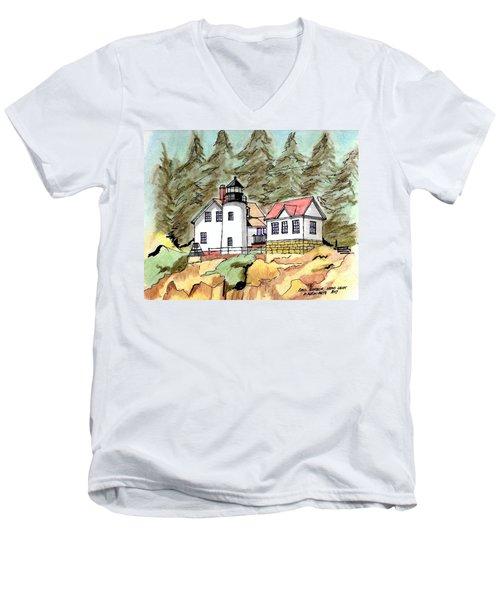 Bass Harbor Head Light Men's V-Neck T-Shirt