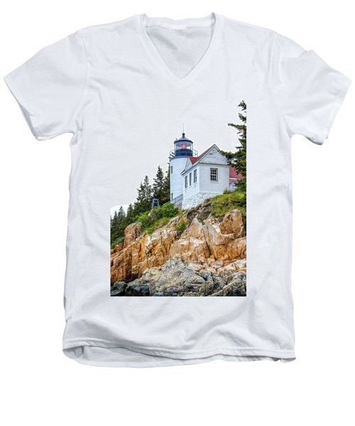 Bass Harbor Head Lighthouse 1 Men's V-Neck T-Shirt