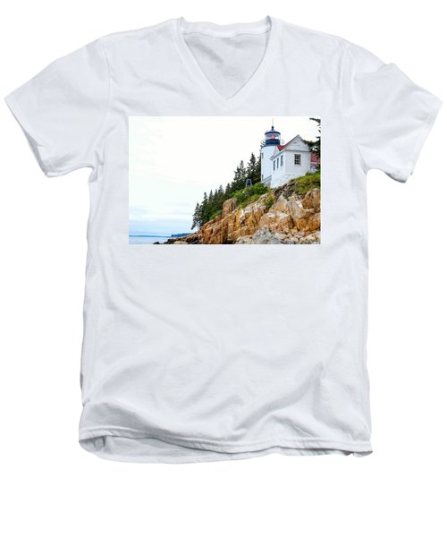 Bass Harbor Head Lighthouse 2 Men's V-Neck T-Shirt