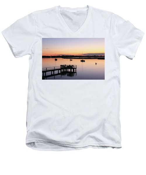Bass River Before Sunrise Men's V-Neck T-Shirt by Roupen  Baker