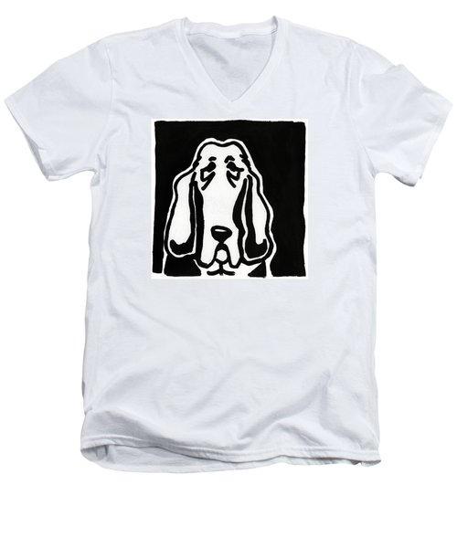 Men's V-Neck T-Shirt featuring the drawing Basset Hound Ink Sketch by Leanne WILKES