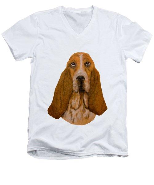 Basset Hound Portrait Men's V-Neck T-Shirt by John Stuart Webbstock