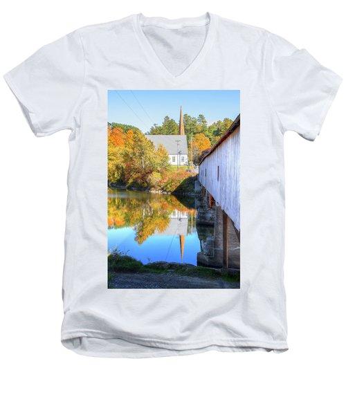 Bath Covered Bridge Men's V-Neck T-Shirt