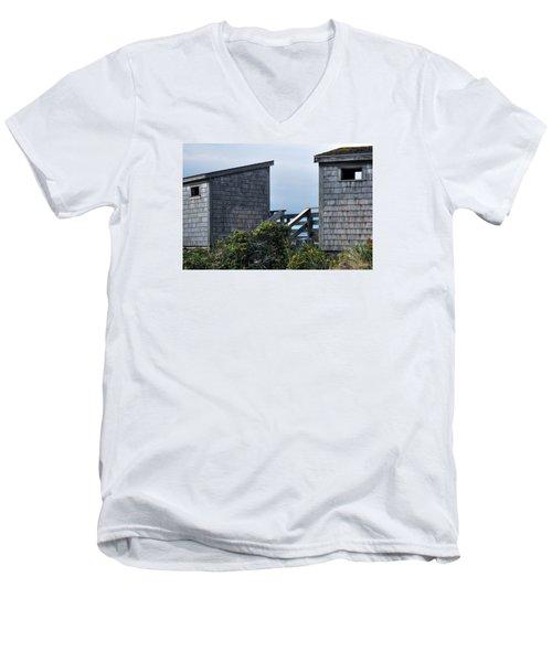 Bath Houses At Nobska Beach Men's V-Neck T-Shirt