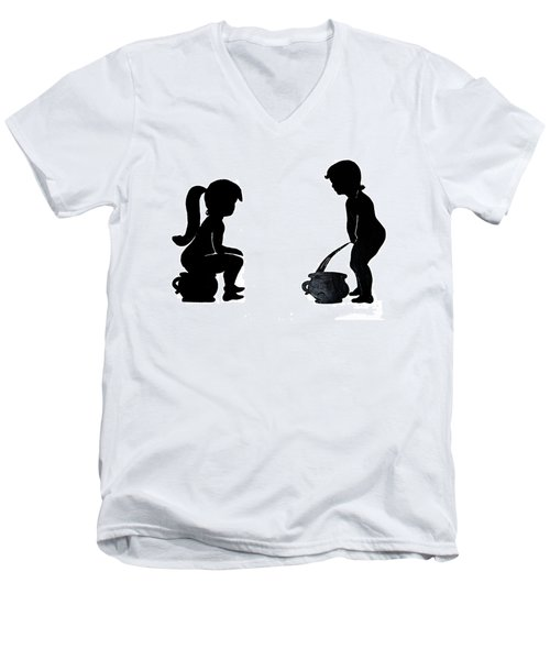Bathroom Silhouettes Men's V-Neck T-Shirt
