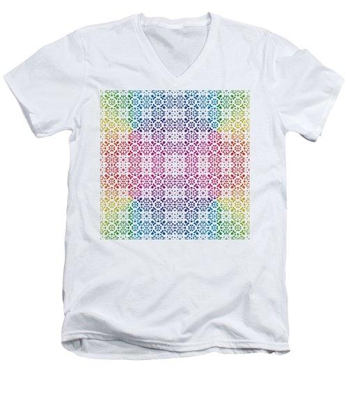 Batik Rainbow 100 - White Men's V-Neck T-Shirt